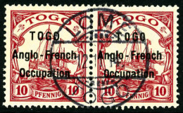 N°34, 10 Pf. Rouge, Surcharge Type I, Variété Petit O à TOGO Tenant à Normal, Oblit&eacu