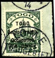 N°33, 1 P. Sur 5 Pf. Vert, Surcharge Type I, Oblitéré Sur Petit Fragment, TB