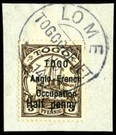 N°31, 1/2 P. Sur 3 Pf. Brun, Surcharge Type I, Oblitéré Sur Petit Fragment, TB