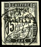 Taxe N°20, 15 C. Noir, Oblitéré, TB