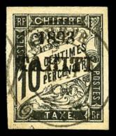 Taxe N°19, 10 C. Noir, Oblitéré Sur Petit Fragment, Superbe