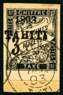 Taxe N°16, 3 C. Noir, Bas De Feuille, Oblitéré Sur Petit Fragment, TB