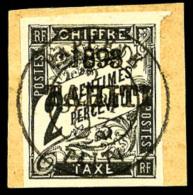 Taxe N°15, 2 C. Noir, Oblitéré Sur Petit Fragment, Superbe