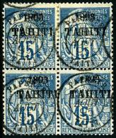 N°24, 15 C. Bleu, Bloc De 4 Oblitéré, TB