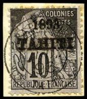 N°23, 10 C. Noir Sur Lilas, Oblitéré Sur Petit Fragment, Légère Rousseur Sinon TB