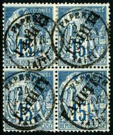N°12, 15 C Bleu, Bloc De 4, Oblitéré, TB