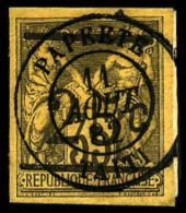 N°1, 25 C. Sur 35 C. Violet-noir Sur Jaune, Oblitéré Sur Petit Fragment, TB