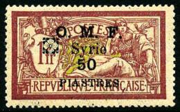 N°55, 50 Pi. Sur 1 F. Lie-de-vin Et Olive, Fleuron D'Alep En Noir, TB