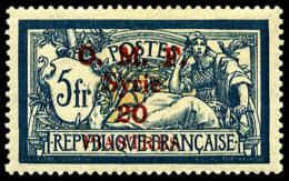 N°30, 20 Pi. Sur 5 F. Bleu Et Chamois, Surcharge Carmin, TB