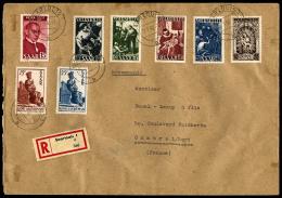 N°263/67, 268, 274, 275, Oblitérés De Saarlouis Le 2 Janvier 1951 Sur Enveloppe Recommandée Pou