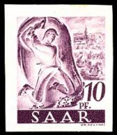 N°218, (1F. Sur) 10 P. Lilas, Tirage Sur Papier Blanc Sans Surcharge Et Non-dentelé, TB (Michel 228IIFAU) (co