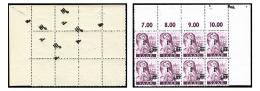 N°218, 1 F. Sur 10 P. Lilas, Bloc De 8 Coin De Feuille Avec Surcharge Aussi Au Verso Sur 3 Timbres Et 4 Surcharges S