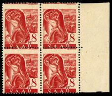 N°199, 8 P. Rouge, Piquage Décalé, Bloc De 4 Bord De Feuille, Superbe