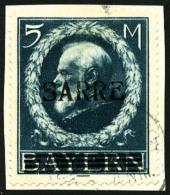 N°30, 5 M. Bleu, Oblitéré Sur Petit Fragment, TB
