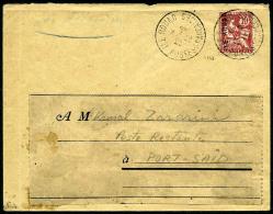 Surcharge Sur Timbre D'Alexandrie 10 C. Rouge, Oblitéré Du 15 Août 1916 Sur Enveloppe Pour Port-Sa&i
