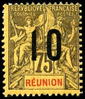 N°79(A), 10 Sur 75 C. Violet-noir Sur Jaune, Chiffres Espacés, TB