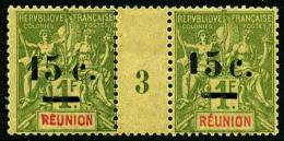 N°55b, 15 C. Sur 1 F. Olive, 1 Plus Petit Que 5, Dans Une Paire Millésime 3, TB
