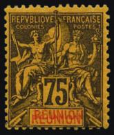 N°43a, 75 C. Violet-noir Sur Jaune, Double REUNION, TB