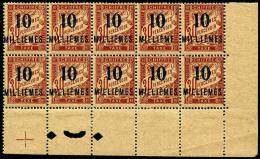 Taxe N°7cD, 10 Sur 30 C. Rouge-carmin, Sans Accent Dans Un Bloc De 10 Coin De Feuille, Superbe