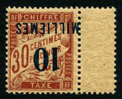 Taxe N°7a, 10 M. Sur 30 C. Rouge-carmin, Surcharge Renversée, Avec Interpanneau, Superbe