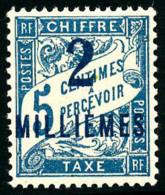 Taxe N°5a, 2 M. Sur 5 C. Bleu, Surcharge Bleue, Superbe