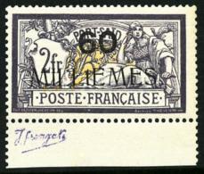 N°47b(B), 60 M. Sur 2 F. Violet Et Jaune, Variété T Au Lieu De I, Bas De Feuille, Superbe