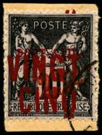 N°19, 25 C. Et VINGT-CINQ Sur 10 C. Noir Sur Lilas, Oblitéré Sur Petit Fragment, TB