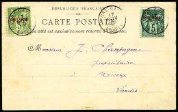 Surcharge Non-émise De 1899 : 5 C. Vert-jaune, Type II, 5 C. Vert, Type II, Les 2 Valeurs Oblitérée