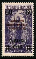 N°57b, 60 Sur 75 C. Violet Sur Rose, Double Surcharge Noire + Rouge, TB