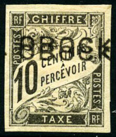 Taxe N°10a, 10 C. Noir, Double Surcharge, Forte * Sinon TB