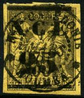 N°4, 25 Sur 35 C. Violet-noir Sur Jaune, Oblitéré, TB