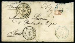 """Franchise Militaire Enveloppe De St Pierre Du 7 Octobre 1874 Avec Càd Octogonal Bleu """"CORR. D.ARMEES/ST PIErre"""","""
