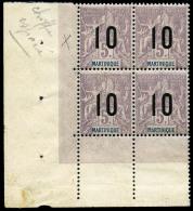 N°81(A), 10 Sur 5 F. Lilas Sur Gris, Chiffres Espacés Dans Un Bloc De 4 Coin De Feuille, Superbe