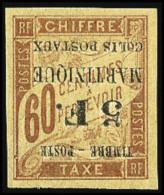 N°60a, 5 F. Sur 60 C. Brun, Surcharge Renversée, TB