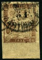 N°60, 5 F. Sur 60 C. Brun, Bas De Feuille, Oblitéré, Pli Sinon TB