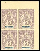N°51a, 5 F. Lilas Sur Gris, Non-dentélé, Bloc De 4 Coin De Feuille, Superbe