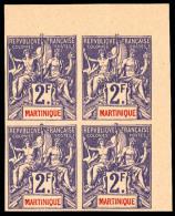 N°50a, 2 F. Violet Sur Rose, Non-dentelé, Bloc De 4 Coin De Feuille, Superbe