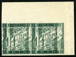 Taxe N°7, 1 F. Vert, Essais Sans Surcharge Et Double Impression, Paire Horizontale Coin De Feuille, Superbe
