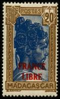 N°255A, 20 F. Bistre Et Bleu, France Libre, Superbe