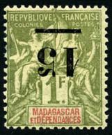 N°50a, 15 Sur 1 F. Olive, Surcharge Renversée, TB