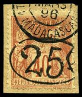 N°27, 25 C. Sur 40 C. Orange, Ellipse, Oblitéré Sur Petit Fragment, TB