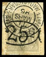 N°25, 25 C. Sur 3 C. Gris, Ellipse, Oblitéré Sur Petit Fragment, TB