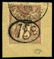 N°24, 15 C. Sur 2 C. Lilas-brun Sur Paille, Ellipse, Oblitéré Sur Petit Fragment, Superbe