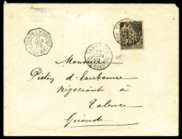 Colonies Générales N°54, 25 C. Noir Sur Rose, Oblitéré Càd De Tamatave Du 27 Juin