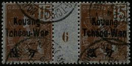 N°6, 15 C. Brun Sur Azuré, Paire Millésime 6 Oblitérée, TB (cote Maury)