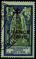 N°182b, 20 Ca. Bleu Et Vert Sur Azuré, France Libre, Double Surcharge Bleu Et Carmin, Oblitéré,