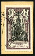 N°177b, 2 Ca. Brun-violet Et Noir, Surcharge FRANCE LIBRE Noire, Oblitéré Sur Petit Fragment, TB