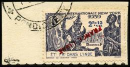 N°158, 2 Fa. 12 Ca. Outremer, France Libre, Surcharge Renversée, Oblitéré Sur Petit Fragment, T