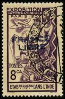 N°156a, 8 Ca. Violet, France Libre, Surcharge Bleue, Oblitéré, TB