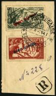 N°152, 153, France Libre, Surcharges Renversées, Oblitérés Sur Petit Fragment, TB